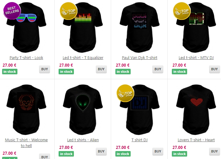 led t shirts with equalizer
