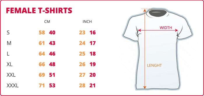 female led shirts size table
